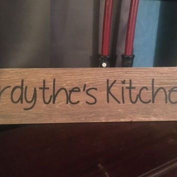 "Personalized Kitchen Sign, 6""x24"" Hand Painted Porcelain Tile With Wooden Look"