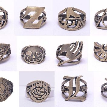 Lot of anime Undertale Sans head Logo RWBY ZELDA Gravity Falls Yu Gi Oh Ring Brozen Cosplay Finger rings Handmade 18mm GiftsKawaii Pokemon go  AT_89_9