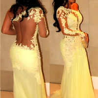 New Hottest One Shoulder with Long Sleeves Sexy Sheer Back Mermaid Bright Yellow Prom Dress/Evening Dress/ Lace Floral Applique Party Dress