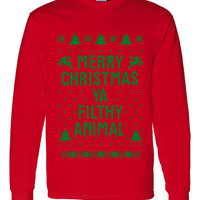 "Great ""Ugly Christmas Sweater"" Crew Neck ""Merry Christmas Ya Filthy Animal"" AWESOME XMAS Shirt MUST Have Holiday Shirt Great Shirt Too Red"