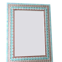 Teal Aqua Copper Metallic Wall Mirror // Mixed Media Mosaic // Large Mirror