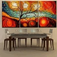 Colorful Tree Modern Abstract 100% Hand Painted Oil Painting on Canvas Wall Art Deco Home Decoration (Unstretch No Frame):Amazon:Home & Kitchen