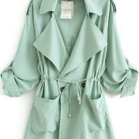 Green Lapel Long Sleeve Pockets Loose Trench Coat - Sheinside.com
