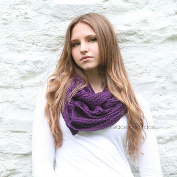 Nellie Knit Scarf - Eggplant - open weave knit scarf with button closure infinity scarf - chunky scarf - knit infinity scarf - button scarf