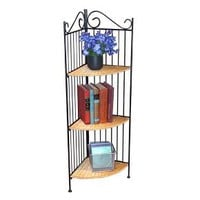 4D Concepts 3 Tier Corner Metal and Wicker Shelf : Target