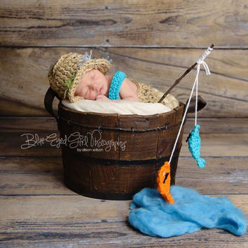 Crochet Fishing Outfit Beige Tweed Newborn Baby Photo Prop