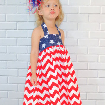 4th of July Halter Dress Red White Blue Boutique Clothing By Lucky Lizzy's