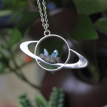 Crystal Saturn Necklace, Angel & Aqua Aura Celestial Jewelry, Galaxy Outer Space Necklace Wiccan Jewelry, Festival Fashion, Planet Jewelry
