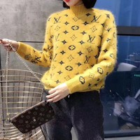 """Louis Vuitton"" Women Casual Fashion Knit Letter Logo Long Sleeve Turtleneck Sweater Tops"