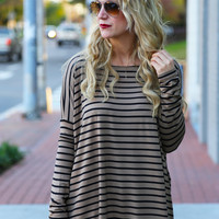 Taupe + Black Striped Piko