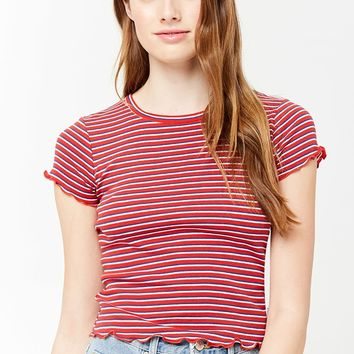 Striped Lettuce-Edge Tee
