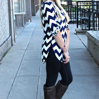 Don't Kill My Vibe Chevron Blouse - Navy