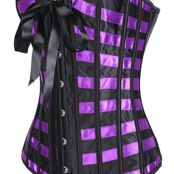 Color Block Plaid Pattern with Lace Ribbon Tie Corset