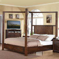 King Size Wood Canopy Bed with Storage Drawers in Walnut Finish