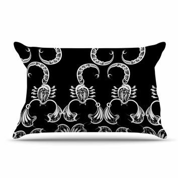 "Maria Bazarova ""Scorpio"" Nature Black Pillow Case"