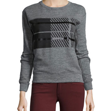Jewel-Neck Long-Sleeve Plaid Sweatshirt, Dark Heather Gray, Size: