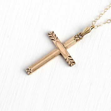 Vintage Cross Necklace - 1940s Mid Century 12k Yellow Gold Filled Etched Charm - 40s Crucifix Religious Faith Pendant 14K GF Chain Jewelry