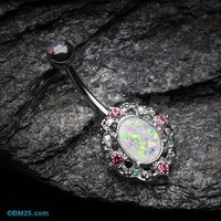 Grand Florid Opal Sparkle Belly Button Ring