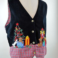 Ugly Felt Sweater Vest Black with Red Plaid Teddy Bears & Christmas Trees Large