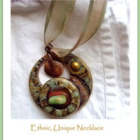 Handmade, Handpainted Jewelry Art Necklace, Unique, African, Wood, Turquoise, Gift for Her, Price reduced from 40 to 30 dollars
