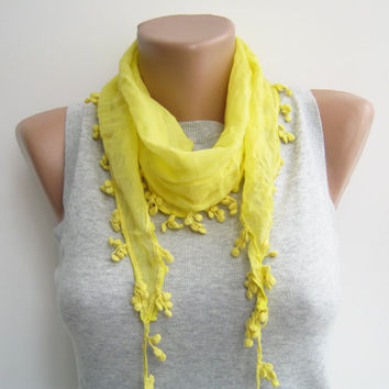 15% SALE Yellow cotton scarf with cotton lace, summer scarf, beach accessories, headband