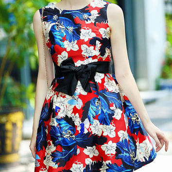 Floral Sleeveless Bow Belted A-Line Mini Dress