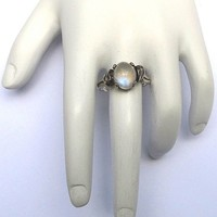 Hand-Wrought 2 Ct. Moonstone/Sterling Ring, c.1905! from aestheticengineering on Ruby Lane
