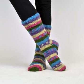 Fleece Lined Wool Slipper Socks