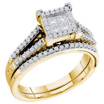Ladies 14k Bridal Princess & Round Cut Diamond Wedding Ring Set 0.50CT YG