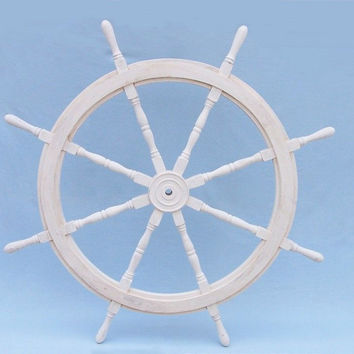Classic Wooden Whitewashed Decorative Ship Steering Wheel 60""
