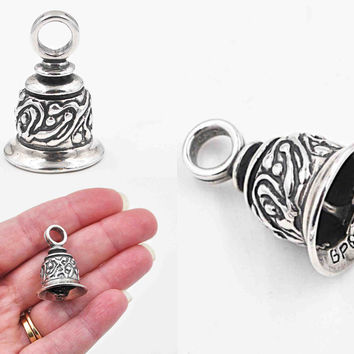 Vintage Sterling Silver Bell Pendant, Ringing Bell, Bell Charm, Signed, Dated 93, 3D, Abstract, Large, Heavy, Sweet! #c169