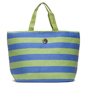 Cappelli Straworld Extra Large Toyo Striped Beach Town Tote Bag (Green & Blue)
