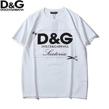 Dolce & Gabbana 2018 new letter print men's casual round neck short-sleeved T-shirt White