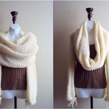 Knit Sweater Shrug Set Tube Scarf Cowl Bolero Capelet Wrap Cover Up Hoodie Poncho Sweater Knit Top  Valentine's Day Gift