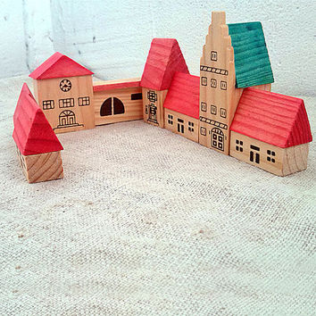 Vintage wooden miniature houses Old miniature town Tiny cottages Retro small town hall Miniature dollhouse Miniatures wood block Rustic toys