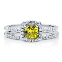 Cushion Cut Citrine CZ 925 Silver 2-Pc Halo Wedding Ring Set 0.46 Ct #r576-ct
