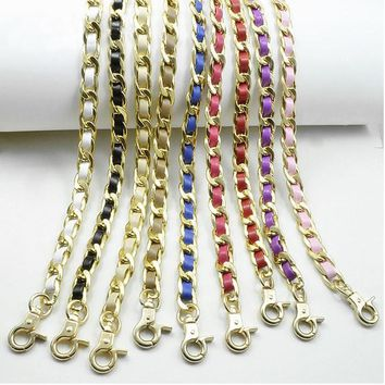 Ultralight 120cm (DIY 40-140cm) Gold Metal Replacement Purse Chain Shoulder Strap for Small Handbags Colorful PU Leather Handle