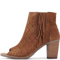 Toms for Women: Majorca Cinnamon Suede Perforated Fringe Peep Toe Booties