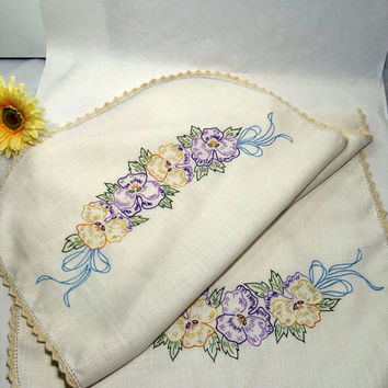 "Shabby Chic Linens Embroidered Dresser Scarf Purple & Yellow Pansies 40"" Long Vintage Hand Embroidery Cottage Chic Linens Country Farmhouse"