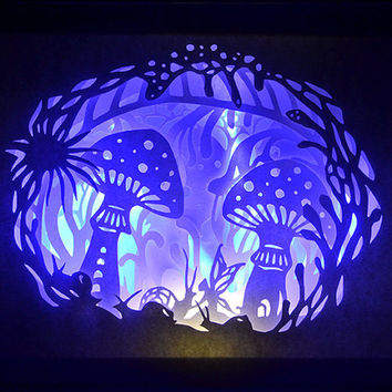 Hidden Forest - Framed Paper Cut - Illuminated Art - Unique Art - Limited Edition - Signed