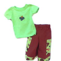 Baby Boys pants and T shirt, 6 months, green and brown, embroidery, animals