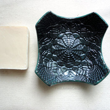 Midnight Blue Ring Dish, Multifunctional Small Pottery Dish, Elegant Style Lace Impressed Ceramic Plate