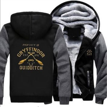 F9 GRYFFINDOR QUIDDITCH Harry Potter 2017 Winter Jackets and Coats Marvel Hoodies Thick Sweatshirts Men's Sportswear Hot Deals U