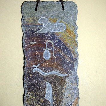 Slate stone plaque Egyptian hieroglyph wall panel hand carved home decoration