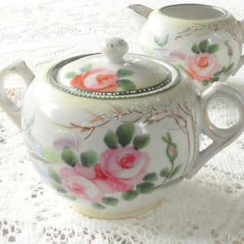 Vintage Hand Painted Nippon Sugar and Creamer Set, Antique, Wedding, Elegant Tea Party High Tea Social