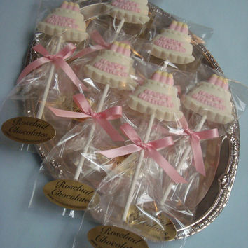 12 Vanilla White Chocolate Happy Birthday Cake Lollipop Candles Party Favors Celebration Babys First
