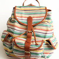 Wanderlust Striped Backpack - $58.00 : ThreadSence.com, Your Spot For Indie Clothing & Indie Urban Culture