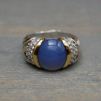 David Yurman Blue Chalcedony Cable Ring, 18k and Sterling, Diamonds - Vintage