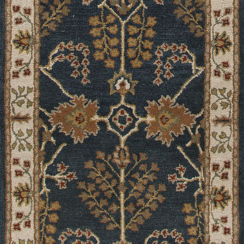 Jaipur Rugs Classic Arts And Crafts Pattern Blue/Ivory Wool Area Rug PM82 (Runner)