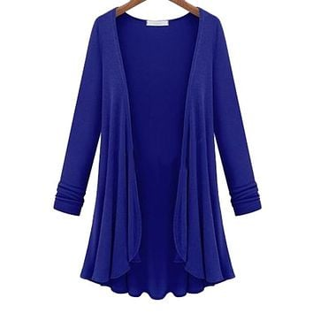 Women's Casual Open Royal Blue Cardigan Jacket/Coverup